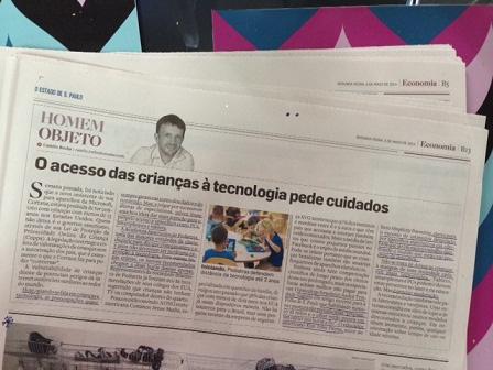 Matéria no Estado de S. Paulo acesso das criancas à tablets e celulares